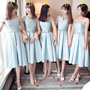 Simple Blue Strapless Sleeveless A Line Short Satin Bridesmaid Dresses