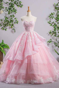 Elegant Pink Off Sweetheart Backless Organza Prom Dress Ball Gown With Lace - EVERISA