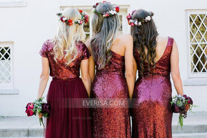 2018 Dark Red V-Neck Floor-Length Sequin Affordable Bridesmaid Dress Cheap Prom Dresses