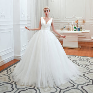 Cheap V Neck Sleeveless A Line Wedding Dresses Long Bridal Gown