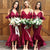Burgundy Deep V Neck Sleeveless Mermaid Satin Bridesmaid Dresses