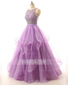 Glamorous Orchid A-line Scoop Neck Organza Prom Dress Evening Dress With Beading - EVERISA
