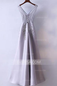 Gorgeous Silver V-Neck Empire Waist Satin Prom Dress Cheap Evening Dress With Lace - EVERISA