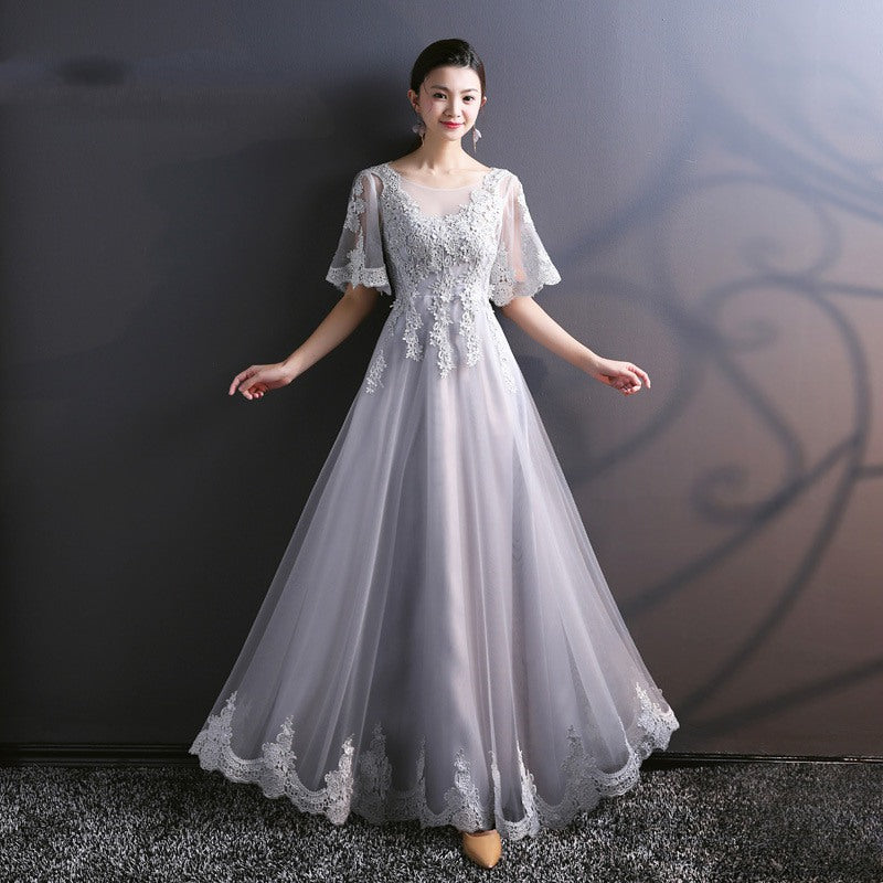 ff1296dfcb7 Grey Scoop Neck Half Sleeveless A Line Prom Dresses With Lace Appliques -  EVERISA