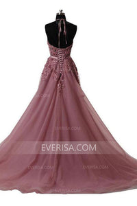 Elegant Indian Red Halter Open Back Tulle Evening Dresses Prom Dress With Lace - EVERISA