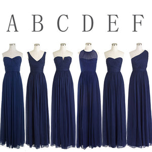 Simple Navy Blue Sleeveless Long Ruffles Chiffon Bridesmaid Dresses