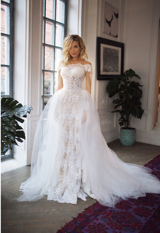 6057ac8121c Long Sleeve Off Shoulder Mermaid Wedding Dresses Lace Bridal Gown ...