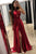 Sexy Burgundy Side Slit Sleeveless Chiffon Prom Dress Cheap Evening Dresses - EVERISA
