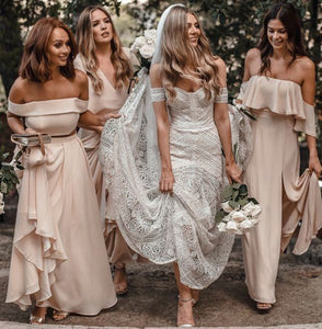 Simple Off Shoulder Backless Long Chiffon Bridesmaid Dresses