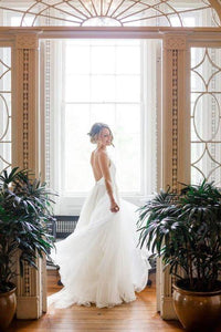 Simple V Neck Sleeveless Backless Wedding Dresses A Line Bridal Gown