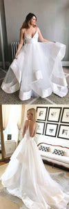 Simple V Neck Open Back Sleeveless Wedding Dresses Satin Bridal Gown