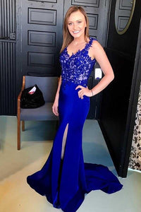 Elegant Blue V-Neck Backless Satin Prom Dress Evening Dresses with Appliques - EVERISA