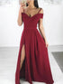 Burgundy Off Shoulder Side Slit Prom Dresses Satin Evening Dresses