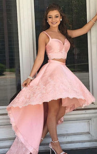 Pink Two Piece High Low Homecoming Dresses Sleeveless Cocktail Dresses