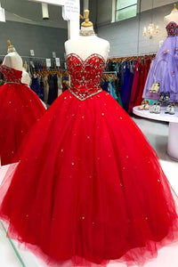 Elegant Red Sweetheart Backless Empire Tulle Ball Gown Long Evening Dresses - EVERISA