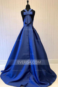 Fashion Navy Blue A Line V-Neck Satin Evening Dresses Cheap Prom Dress - EVERISA