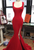 Elegant Red Side Slit Mermaid Prom Dresses Sleeveless Evening Dresses