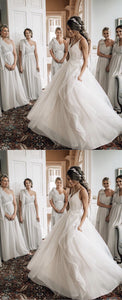 Grey One Shoulder Sleeveless A Line Long Chiffon Bridesmaid Dresses