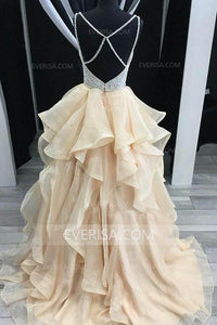 Fashion Moccasin A-Line V-Neck Tiered Organza Evening Dress Prom Dresses - EVERISA