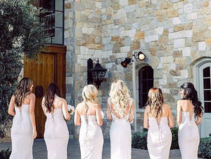 Elegant White Spaghetti Straps Floor-Length Slim-Line Satin Prom Dresses Bridesmaid Dresses