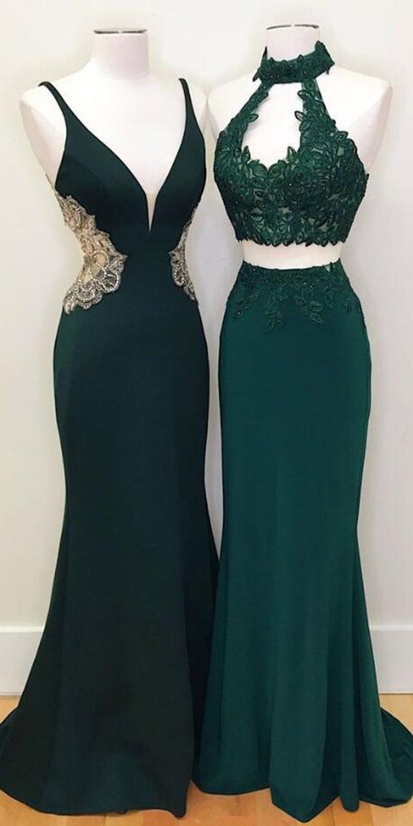 Emerald Green Sleeveless Lace Prom Dresses Mermaid Evening Dresses