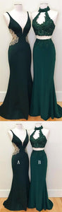Emerald Green Sleeveless Lace Prom Dresses Mermaid Evening Dresses - EVERISA