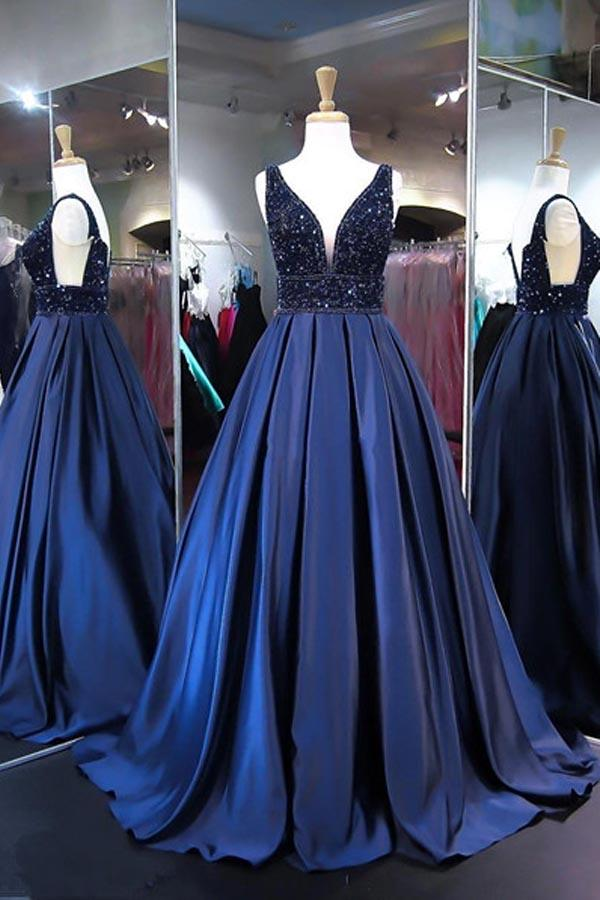 94ef29a0b8 Fashion Navy Blue V Neck Open Back Satin Ball Gown Prom Dress With Beading  - EVERISA