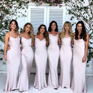 Simple Spaghetti Straps Sleeveless Mermaid Satin Long Bridesmaid Dresses
