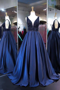 Fashion Navy Blue V Neck Open Back Satin Ball Gown Prom Dress With Beading - EVERISA