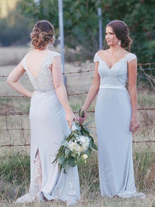 Blue V Neck Cap Sleeve Backless Split Bridesmaid Dresses With Lace