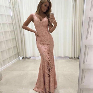Blush Pink V Neck Sleeveless Mermaid Prom Dresses Lace Evening Dresses