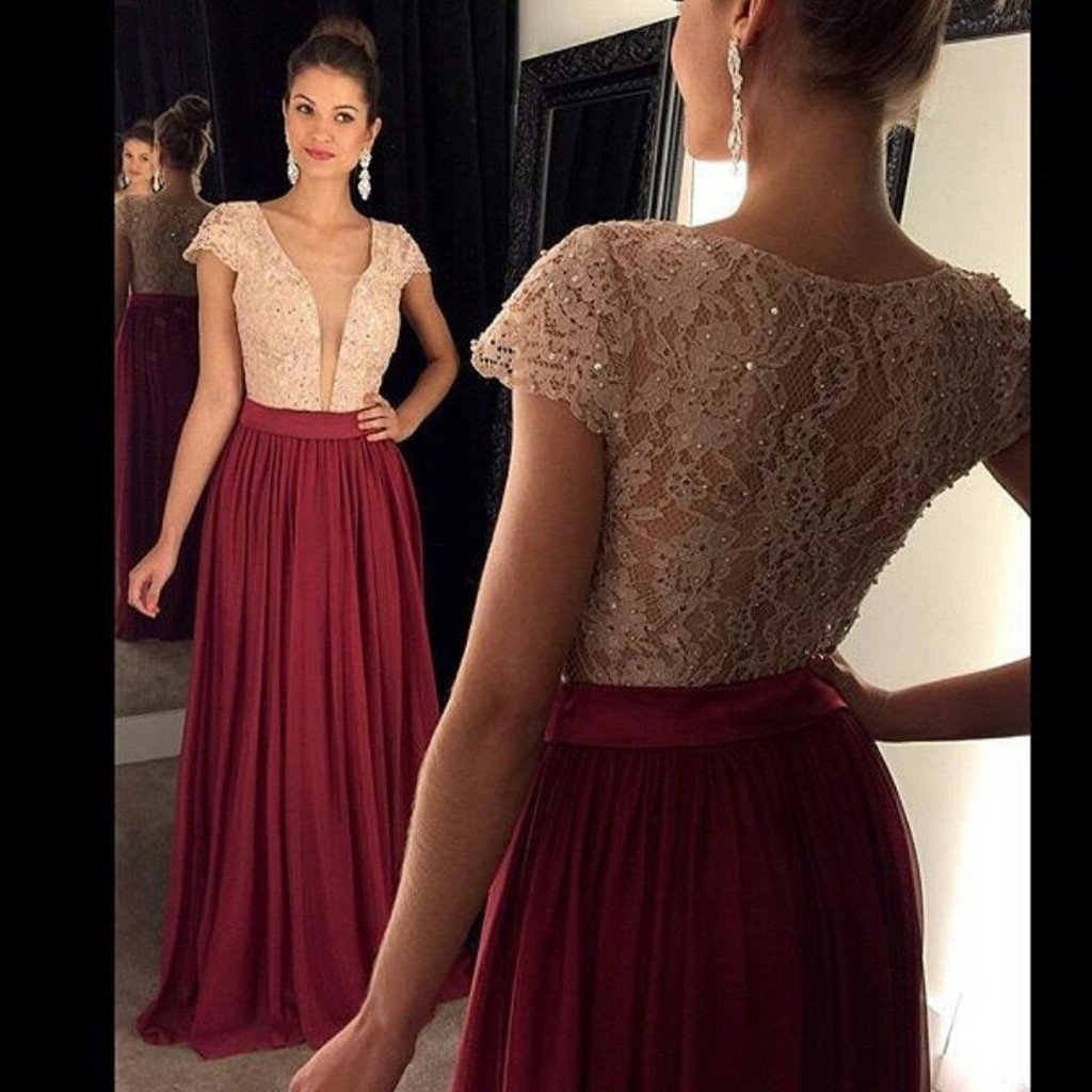 d70bb3bf9a6 Deep V Neck Short Sleeve Lace Beaded Prom Dresses A Line Evening Dresses