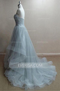 Simple Light Steel Blue Sweetheart Backless Tulle Evening Dress Long Prom Dress - EVERISA