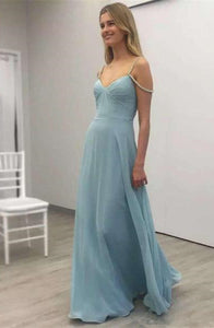 Blue Sleeveless Backless Beaded Prom Dresses Chiffon Evening Dresses