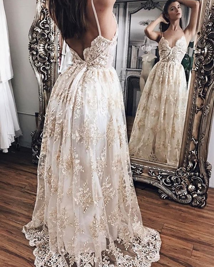 Sexy V Neck Open Back Lace Wedding Dresses A Line Bridal Dresses