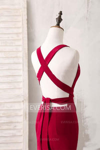 Luxury Red V-Neck Open Back Satin Evening Dresses Prom Dresses With Sleeveless - EVERISA