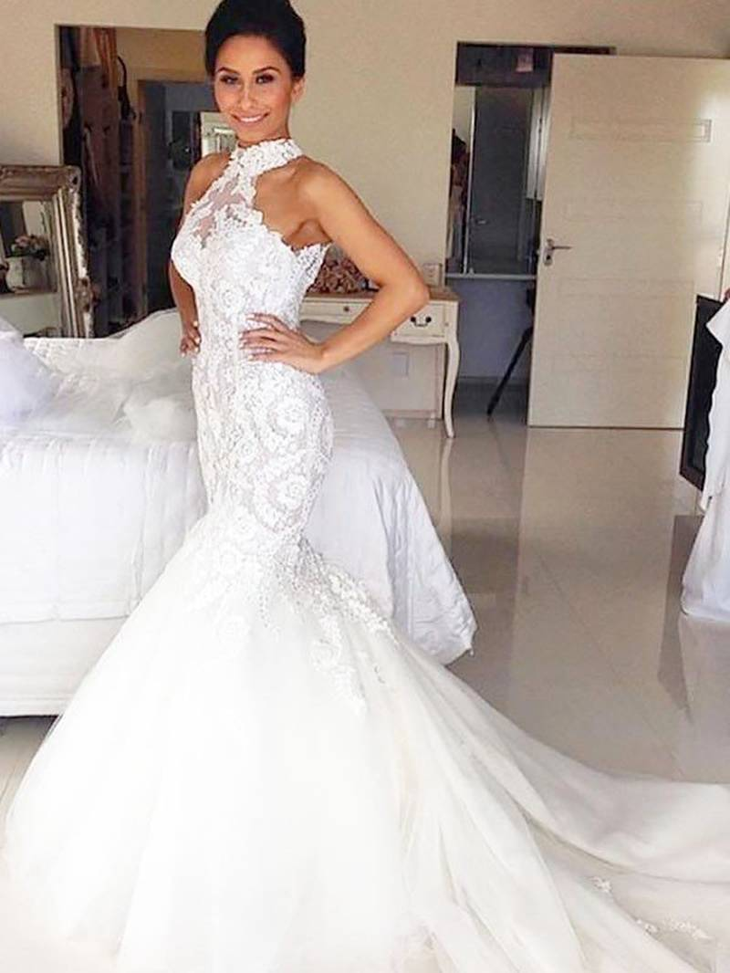 White Halter Sleeveless Lace Wedding Dresses Mermaid Bridal Gown