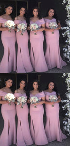 Elegant Pink Off Shoulder Sleeveless Mermaid Side Slit Bridesmaid Dresses