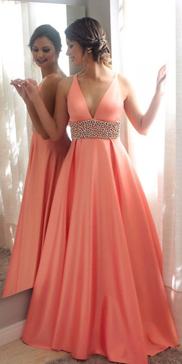 5afb2b24091 Coral Deep V Neck Sleeveless A Line Satin Long Prom Dresses With Beaded