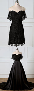 Black Sweetheart Off Shoulder Lace Prom Dresses With Removable Skirt