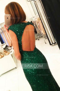 Fashion Dark Green Open Back Side Slit Sequin Prom Dress Long Evening Dress - EVERISA