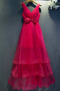 Hot Pink V Neck Sleeveless Prom Dresses Tiered Tulle Evening Dresses