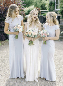 Scoop Neck Cap Sleeve Backless Long Bridesmaid Dresses With Lace