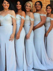 Blue Sweetheart Off Shoulder Front Split Bridesmaid Dresses With Lace