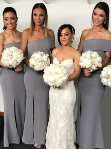 Grey Off Shoulder Sleeveless Satin Long Bridesmaid Dresses With Split