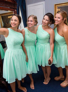 Mint Green One Shoulder Sleeveless A Line Chiffon Short Bridesmaid Dresses