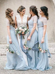 Blue Round Neck Short Sleeve Chiffon Bridesmaid Dresses With Lace