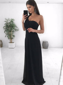 Black One Shoulder Sleeveless A Line Chiffon Long Bridesmaid Dresses