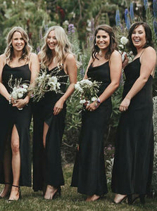 Black Spaghetti Strap Sleeveless Split Satin Bridesmaid Dresses