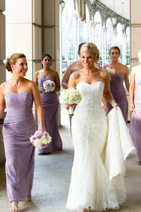 Simple Lilac Sweetheart Sleeveless Chiffon Bridesmaid Dresses With Ruched